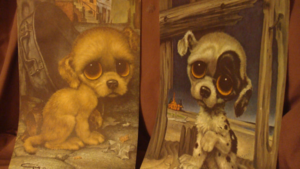 Two Prints created by Gia - Puppies - Dogs - Big Eye Puppies