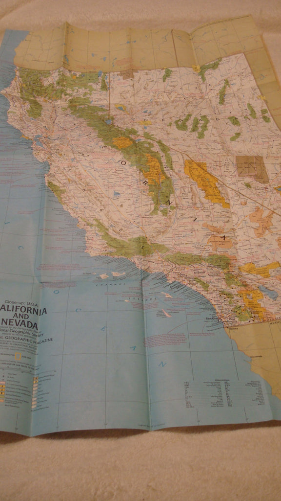 California and Nevada - June 1974, West Coast - National Geographic - Vintage Map, CA Maps, USA, FREE Shipping