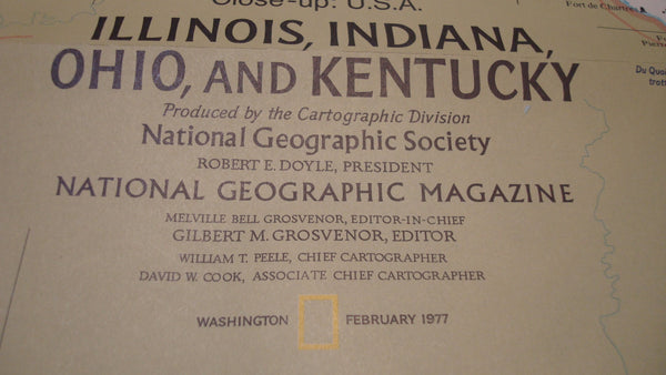 Indiana, Illinois, Ohio, Kentucky  - National Geographic - Indianapolis Speedway, Race Car Poster, Vintage Map, FREE Shipping