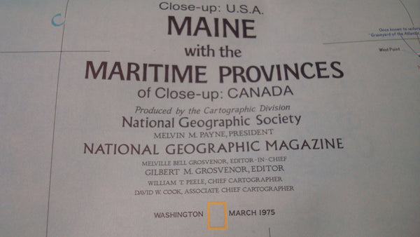 Maine  - National Geographic - Vintage Map - with the Maritime Provinces