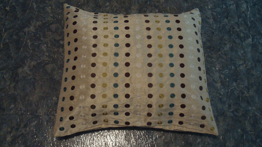 Dog or Cat Pillow Bed - Upcycled Pet Bed - REVERSABLE - Polka Dots - Square