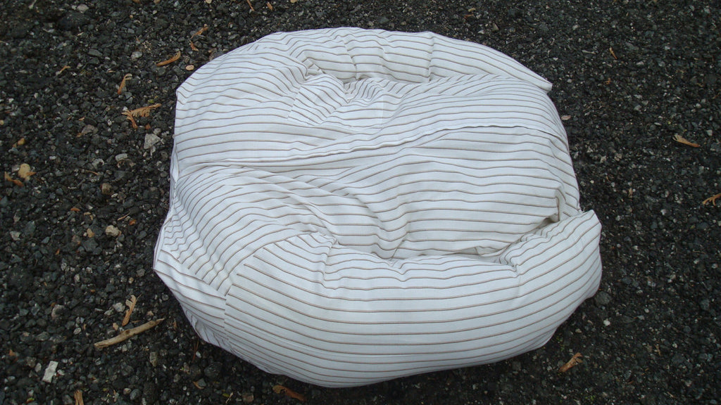 Dog or Cat Pillow Bed - Upcycled Pet Bed - Striped White Shirt
