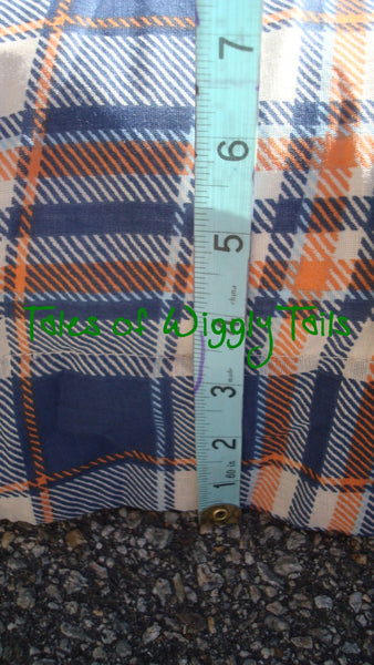 Dog or Cat Pillow Bed - Upcycled Pet Bed - Plaid Blue and Orange