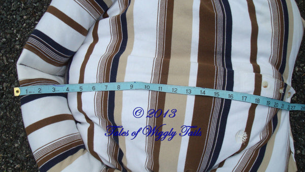 Dog or Cat Pillow Bed - Upcycled Pet Bed - Brown White and Tan Stripe