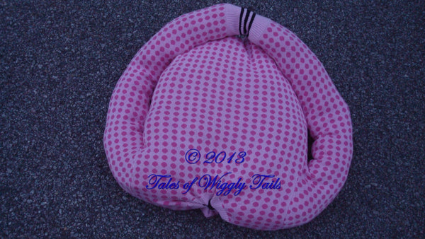 Dog or Cat Pillow Bed - Upcycled Pet Bed - Pink Polka Dots - Heart Shaped