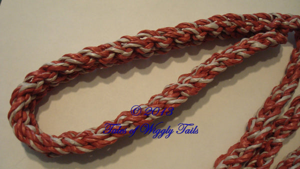 Dog Leash - Handmade Crochet - Red with White - CLIP LEAD