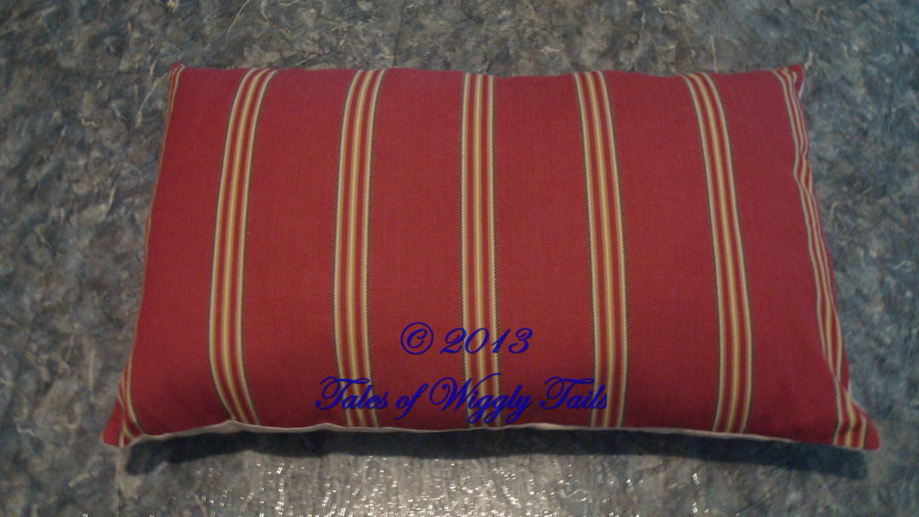 Dog or Cat Pillow Bed - Upcycled Pet Bed - Red Stripes