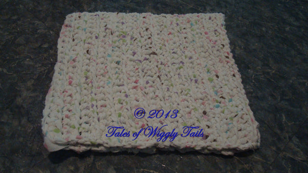 Carpet Rug Bed - Rag Rug - Animal Mat - Dog - Cat - Upcycled - White with Rainbow Polka Dots - Rectangle