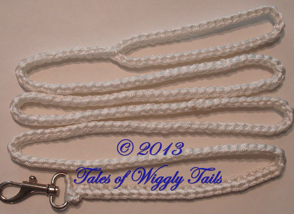 Dog Leash - Handmade Crochet - White - CLIP LEAD