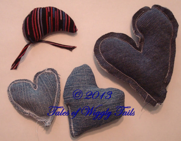 2 Catnip Toys - Handmade Upcycled Hearts and Mice