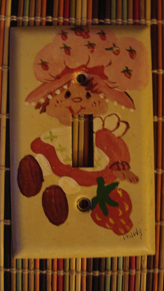Strawberry Shortcake Light Switch Cover - Handpainted - OOAK