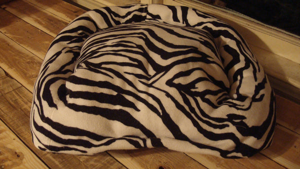 Dog or Cat Pillow Bed - Upcycled Pet Bed - Black and White Zebra Stripe