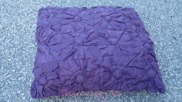Dog or Cat Pillow Bed - Upcycled Pet Bed - Purple Flower Small Square