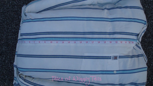Dog or Cat Pillow Bed - Upcycled Pet Bed - Blue and White Striped Rectangle Bed