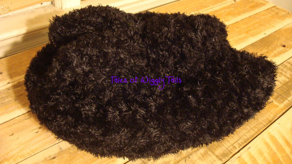 Dog or Cat Ugly Sweater Pillow Bed - Upcycled Pet Bed - Furry Black