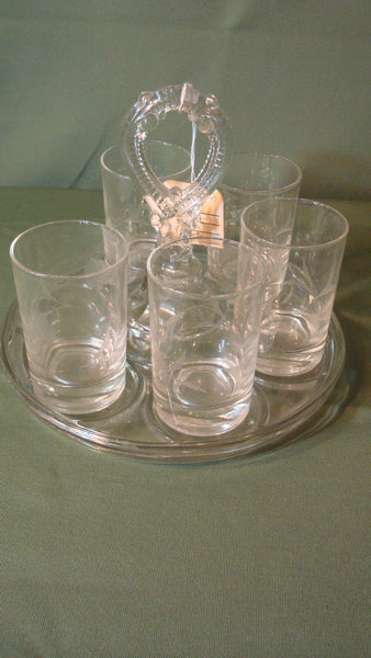 Set of Five Etched Glasses - with Glass Carrying Tray