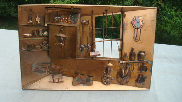 Copper General Store Wall Hanging - Music Box - also Display Stand - FREE SHIPPING