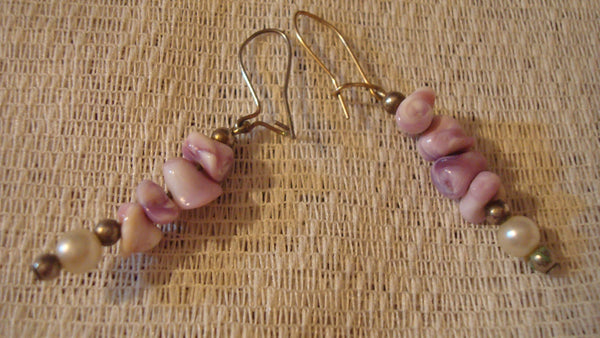 Purple Rock Gold - PIERCED Ear RINGS - Vintage Jewelry - Natural, FREE Shipping