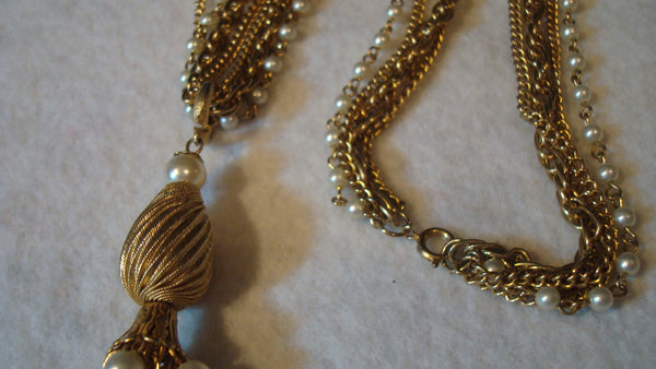 Long Gold Necklace Multi Link Chain - Vintage Jewelry, FREE SHIPPING