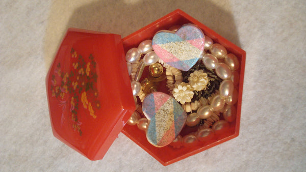 Vintage Jewelry Box with Asian theme - Instant Collection - Necklaces, Ear Rings - Jewelry Lot,  FREE Shipping