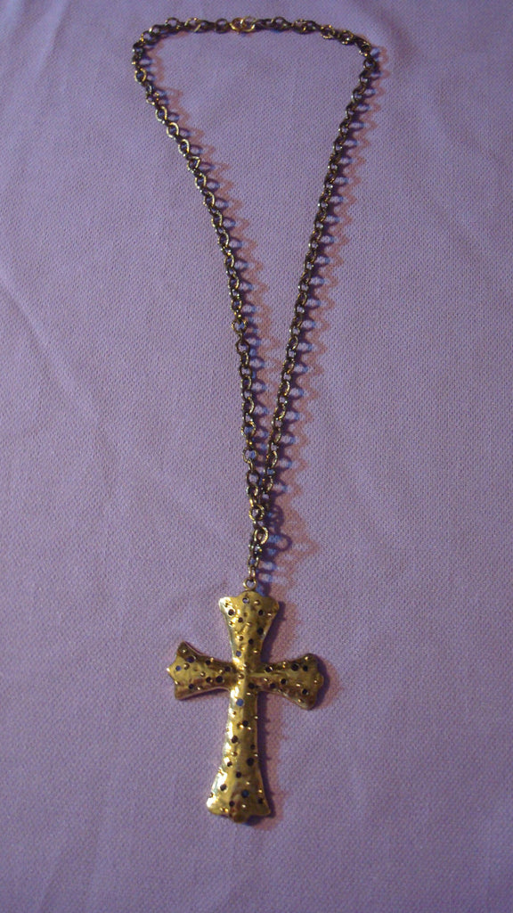 16 inch Long Silver Necklace Chain with Large Cross Pendant - Vintage Jewelry