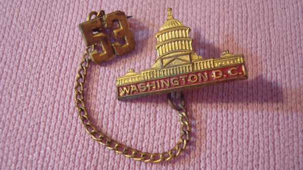 Washington DC 1953 - Gold Pin - Brooch