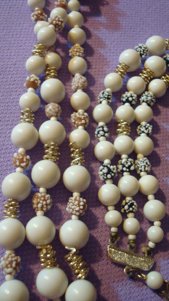 BOGO FREE Multi Strand White/Green/Tan Bead Necklace - Vintage Jewelry - Faux Pearls - TWO Pairs