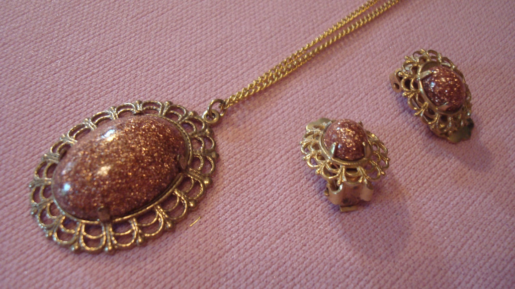 Gold Necklace Thin Chain - Vintage Jewelry Set - Brown Marble Stone- clipon Ear Rings
