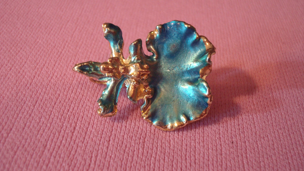Gold Brooch - Pin, Blue - 22K