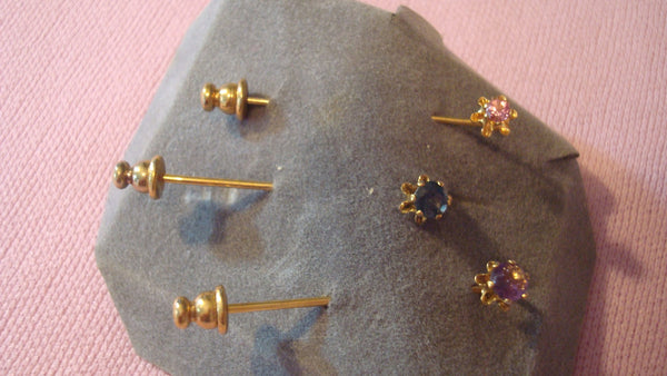 Gold Pin - Brooch - THREE Stick Pins - Brooches - Birth Stones, Your CHOICE