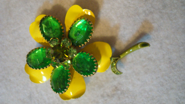 Rad Yellow and Green Flower Brooch, Vintage Pin, Retro, FREE Shipping!