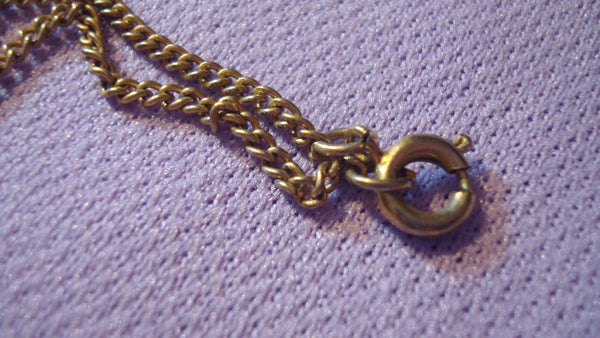Green Jade Rock locked in Gold Heart Pendant on thin gold chain - Signed BSK