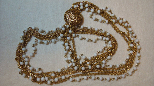 Long Gold Necklace Multi Chain - Vintage Jewelry