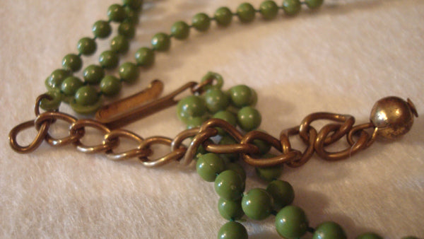 Multi Strand Green Bead Necklace - Vintage Jewelry - Retro Green
