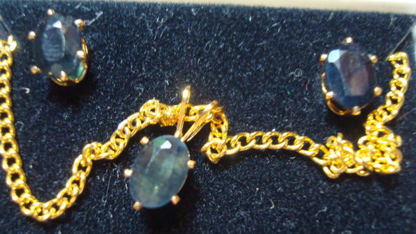 Blue Sapphire Necklace and Pierced Ear Ring Gold Set - GENUINE SAPPHIRE, FREE Shipping