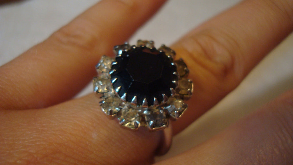 Sarah Coventry, Silver Large Black Oynx Stone Ring - Vintage Jewelry, Free Shipping
