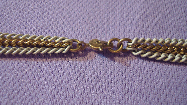 Multi Strand White/Gold Necklace - Vintage Jewelry - Super Long - Bracelet, FREE Shipping