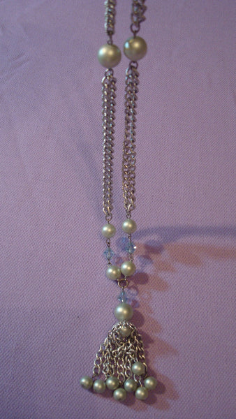 Silver and Blue Dangly Necklace - Long Necklace - Vintage Jewelry
