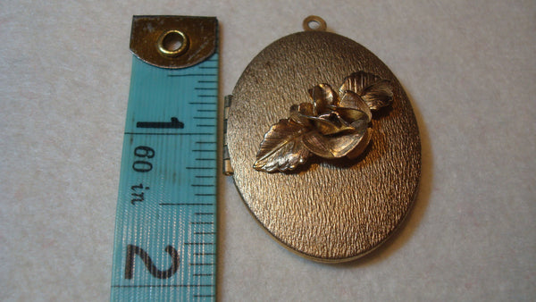 Gold Pendant - Rose Locket - Vintage Jewelry - For Her