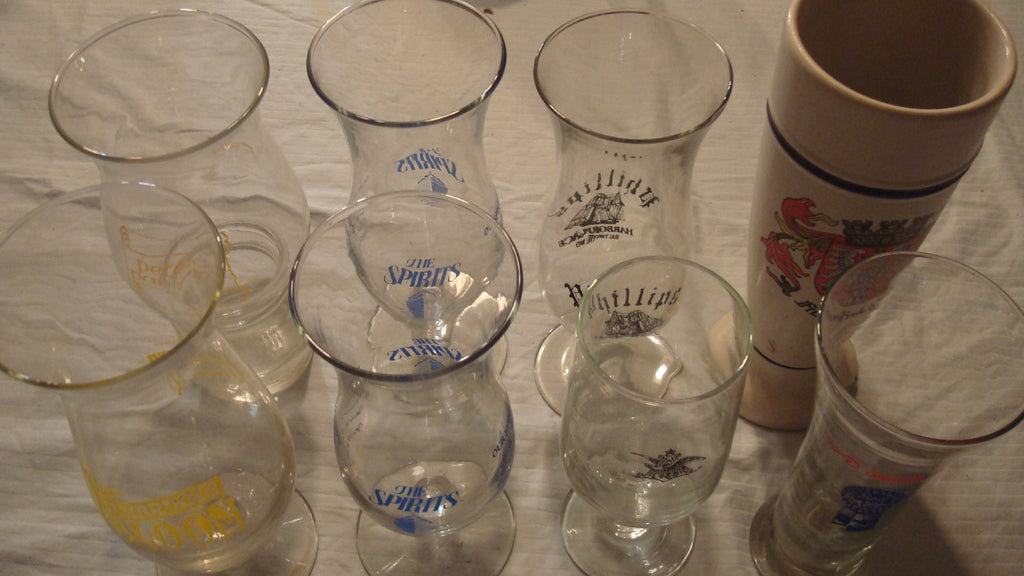 Mitch Match Set of 8 Tall Glasses, Vintage Barware