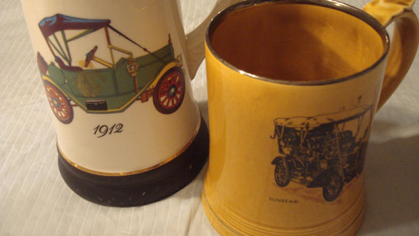 Automobiles Stein and Mug, vintage mugs, drinking steins, model A, model T, 1912, car lovers, antique cars, man cave decor, Free Shipping