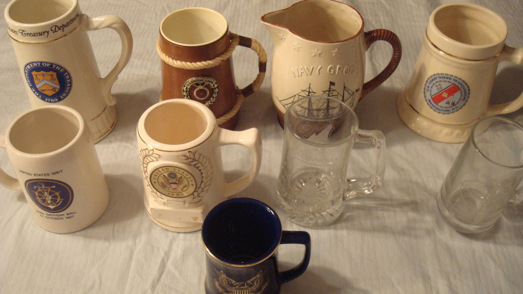 MILITARY LOT of 9 MUGS - Instant Collection - 9 Total, Army, Navy, Marines, Coast Guard, Treasury Dept, Congress, etc