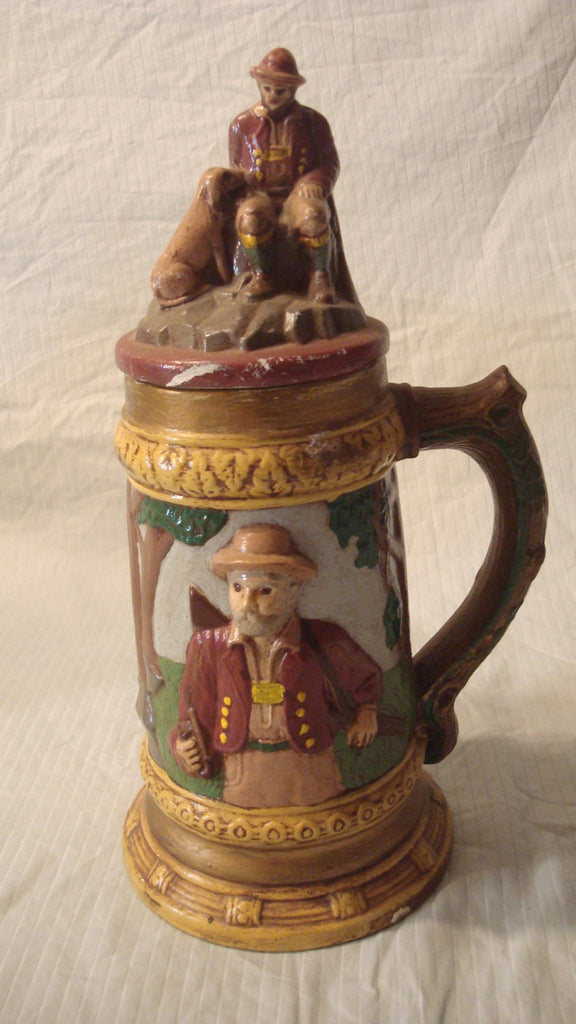 Super Tall Mug, Stein - Vintage Ceramic, Nature, Hunter, Deer, Man with Dog