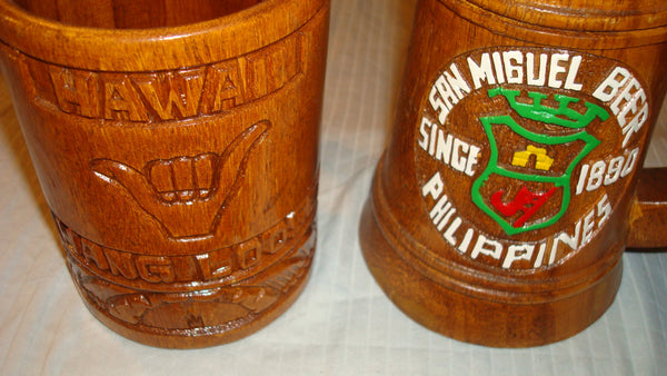 Wooden Mugs  - Wood Mugs, Hang Loose, Hawaii and Philippines San Miguel Beer, Rare Collectibles, Vintage Mugs, FREE Shipping