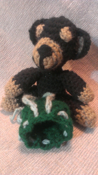 Teddy Bear with Drawstring Bag Crochet, Proposal, Valentine's Day, Mother's Day, Black Bear, Free Shipping