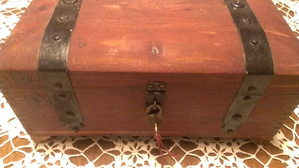 Antique Wooden Chest, Jewelry Box, with Lock and Key, Stash Box, Wooden Stash box, Antique Treasure Chest
