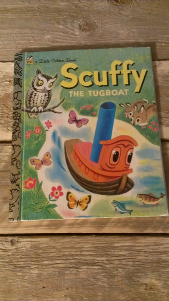 Scuffy the Tugboat, Little Golden Books, LGB, His Adventures down the River, Gertrude Crampton