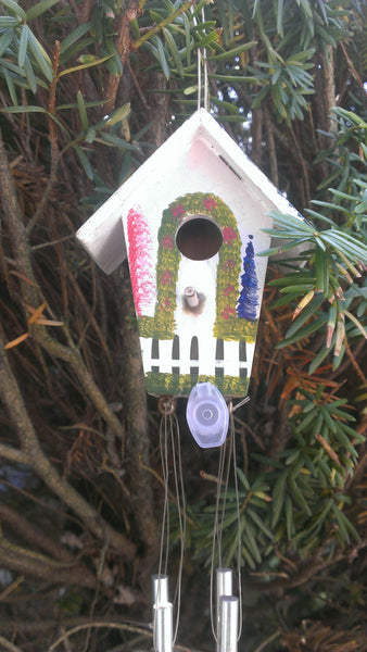 Public out in the open Geocache - Windchimes and Birdhouse Micro Container, Decorative Cache, Bird House, Wind Chimes,  FREE SHIPPING