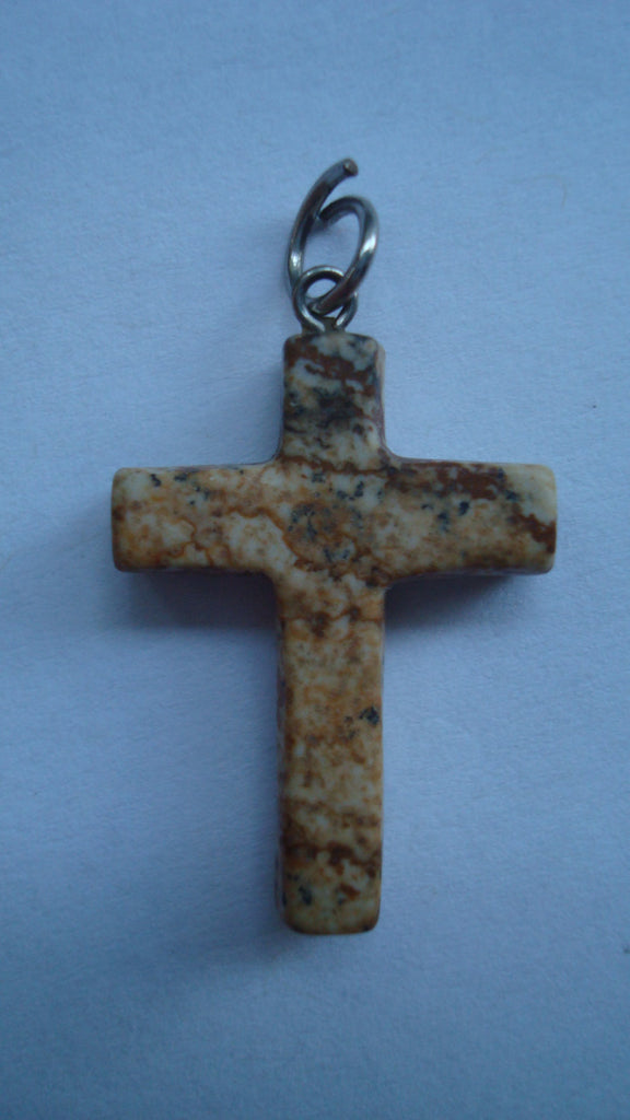 Marbled Cross Pendant, for Necklace, Vintage Jewelry