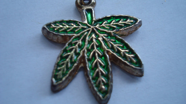 Marijuana Leaf Pendant, Mary Jane Pendant - Green and Gold - FREE SHIPPING